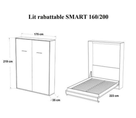 Armoire lit escamotable SMART-V2 taupe mat 160*200 cm.[4/7]