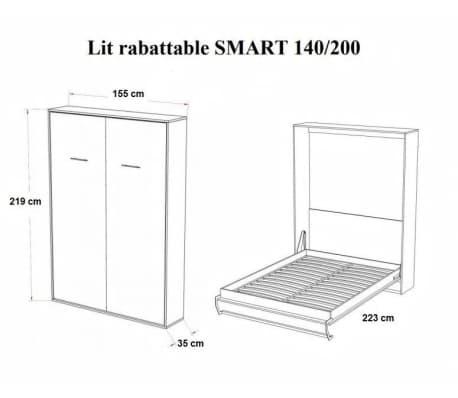 Armoire lit escamotable SMART-V2 gris graphite mat couchage 140*200 c[4/7]