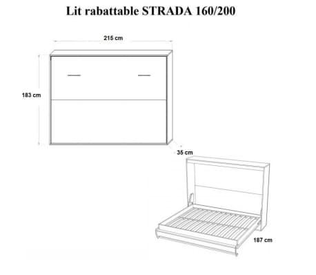 Armoire lit horizontale escamotable STRADA-V2 chêne couchage 160*200[4/7]