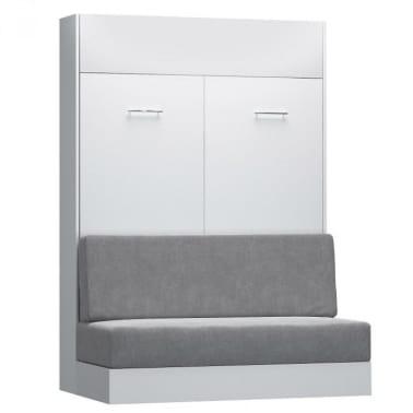 Armoire lit escamotable DYNAMO SOFA canapé intégré blanc mat et micro[2/7]