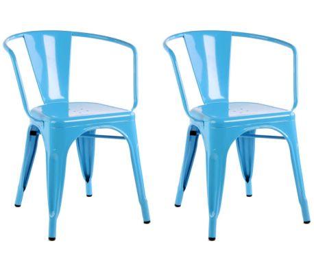 Chaise Design Industriel KENNEDY Bleu Lot De 22 4