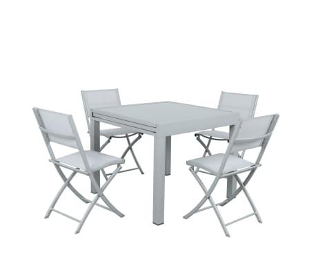 Table de jardin extensible aluminium 90/180cm + 4 Chaises pliantes te