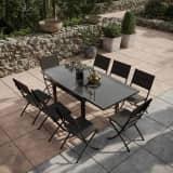 Table de jardin extensible aluminium verre 90/180cm + 8 Chaises plian