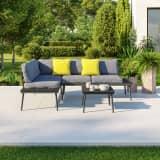 Salon d'angle de jardin design aluminium couleur Gris - ALTO