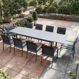 Table de jardin extensible aluminium anthracite 200/300cm + 10 fauteu