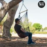 Chaise à suspendre faite en corde avec coussin - Hamac chaise
