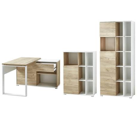 Ensemble avec 1 bureau et 2 étagères imitation chêne blanc / chêne
