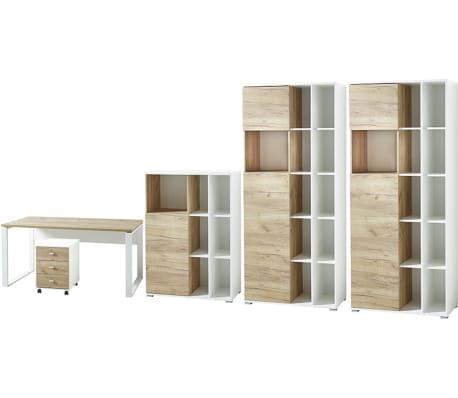 Ensemble avec 1 bureau et 2 armoires imitation chêne blanc / chêne