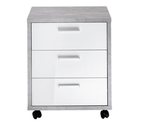 Caisson de bureau en bois coloris chêne gris béton LA/blanc brillant