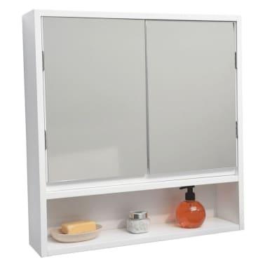 Meuble salle de bain blanc et gris - 2 portes + 1 Miroir + 1 Niche