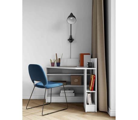 Bureau d'angle en bois blanc avec niche de rangement - BU6010[2/5]