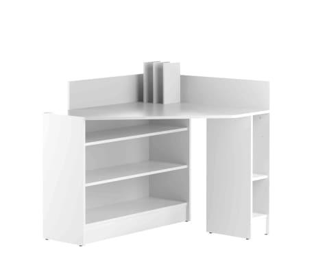 Bureau d'angle en bois blanc avec niche de rangement - BU6010[4/5]