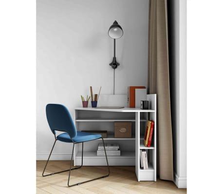 Bureau d'angle en bois blanc avec niche de rangement - BU6010[1/5]