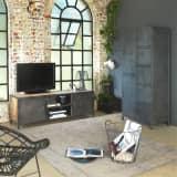 Meuble TV industriel 2 portes 2 niches bois clair métal gris | mim-