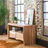 Meuble TV en acacia style tronc arbre, 2 tiroirs | RASAM-11