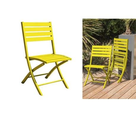 Salon jardin pliant jaune 4 places Marius[2/8]