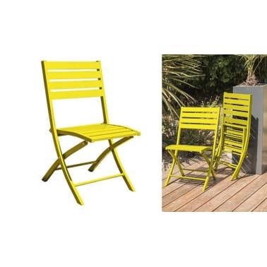 Salon jardin pliant jaune 4 places Marius[5/8]