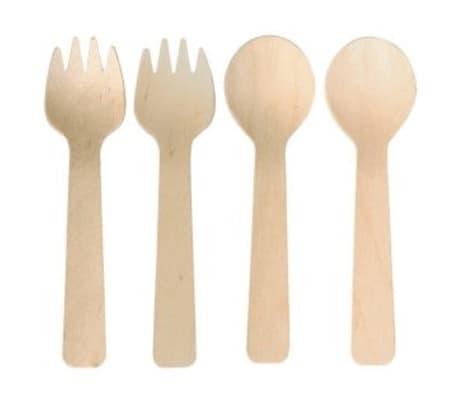 6 cuillères + 6 fourchettes en bois 10 cm