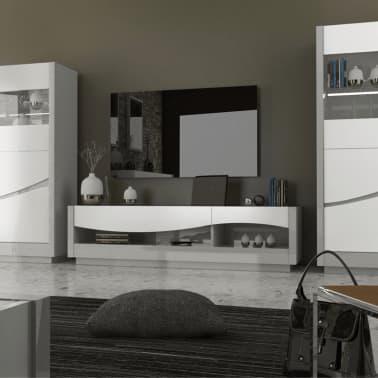 Meuble Tv 2 Tiroirs Laque Blanc Gris Ralf L 178 X L 45 X H 47