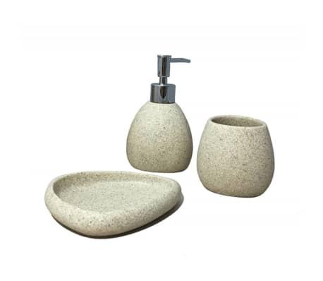 Set 3 accessoires salle de bain beige - ELOA
