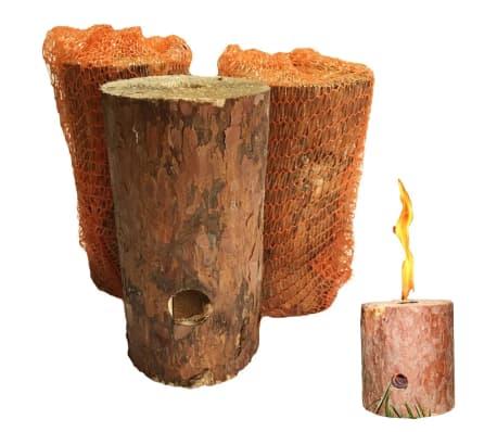 Feu suédois - bûche suédoise bois bougie de jardin         - lot de 6