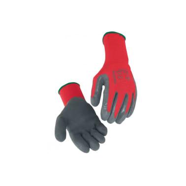 Gant manutention enduit latex SINGER gris nylon rouge Taille 9 suppor[1/3]