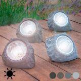 Une pierres solaire à lumières LED pour jardins Couleur - Marron Foncé