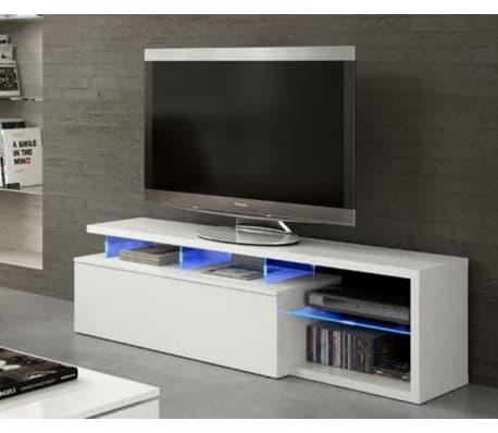 Meuble Tv Avec Led Blanc Et Tablettes En Verre L150 X P41 X H43 Cm Vidaxl Fr