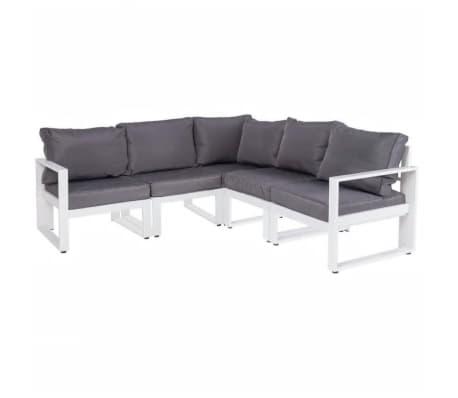Canapé d'angle d'extérieur Aluminium Blanc/Gris - PAPEARI[2/2]