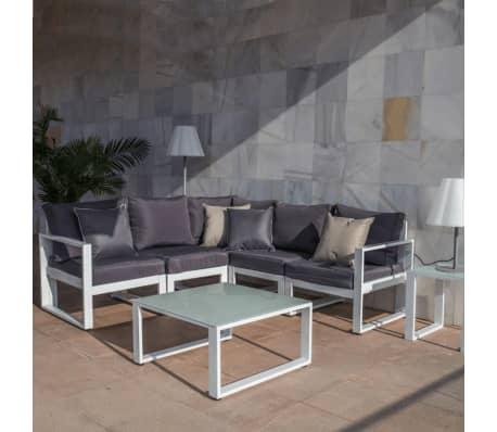 Canapé d'angle d'extérieur Aluminium Blanc/Gris - PAPEARI[1/2]