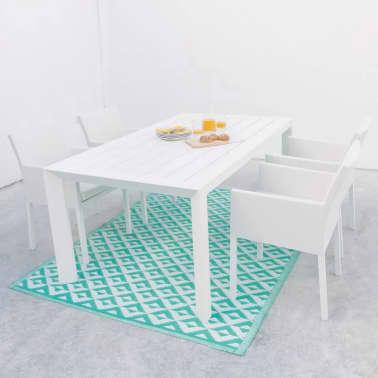 Chaise à accoudoirs Tissu blanc/Aluminium - BELITUNG[1/2]