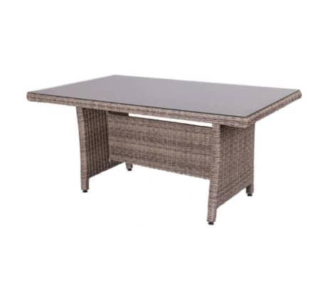 Table de repas Rotin vieilli/Verre - RINCA - L 160 x l 100 x H 75[2/2]