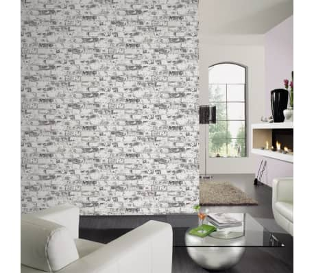 acheter dutch wallcoverings papier peint brique blanc et gris 42507 10 pas cher. Black Bedroom Furniture Sets. Home Design Ideas