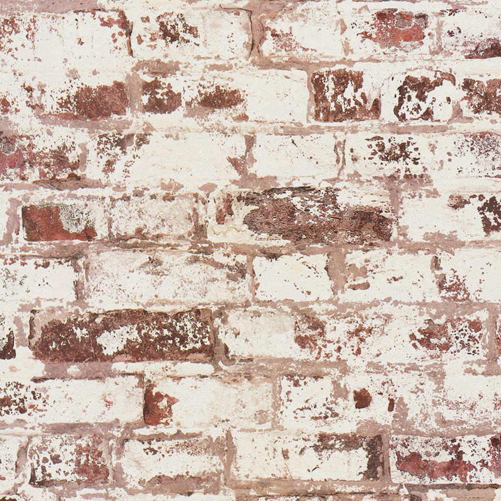 DUTCH WALLCOVERINGS Behang baksteen rood en wit