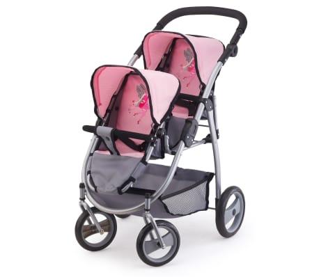 Bayer Lėlių vežimėlis dvyniams, pilkas ir rožinis, 26508AA[1/3]
