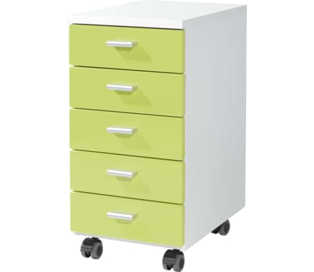 Germania Rolling Filing Cabinet White and Green 4099-181