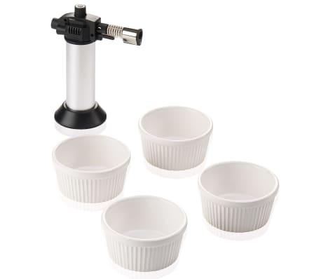 Leifheit Zestaw do crème brûlée, 5 części, srebrny i biały, 03118[1/7]