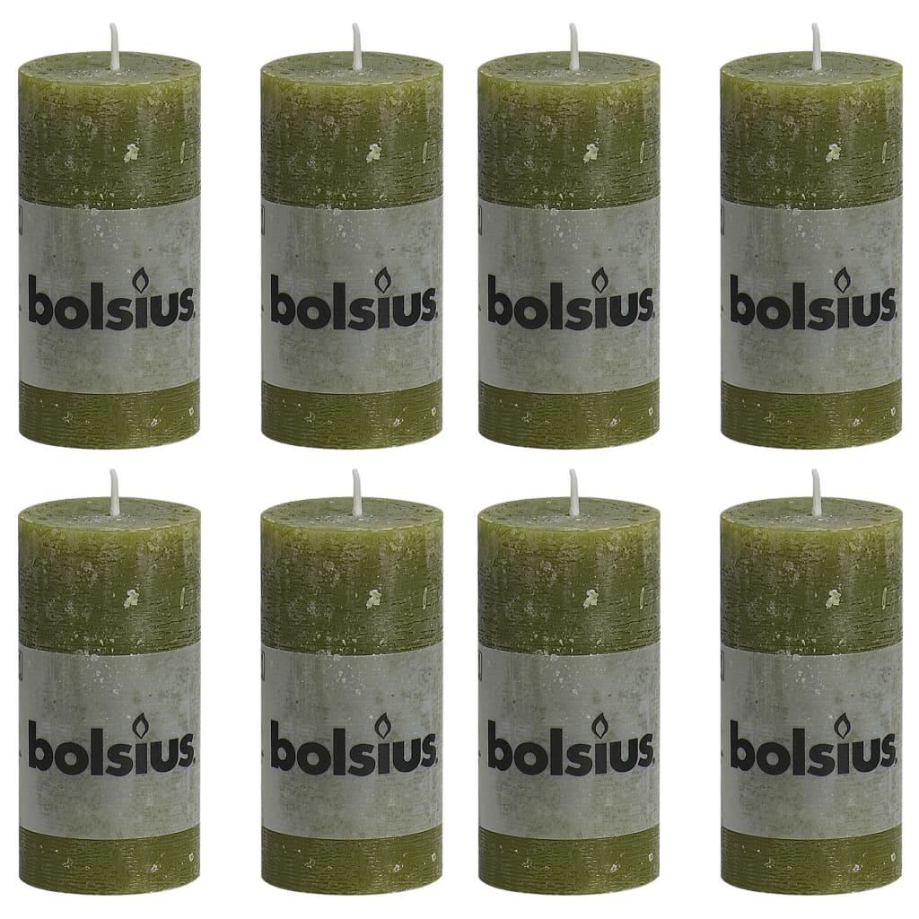 Bolsius Lumânări bloc rustice, 8 buc., oliv, 100 x 50 mm vidaxl.ro