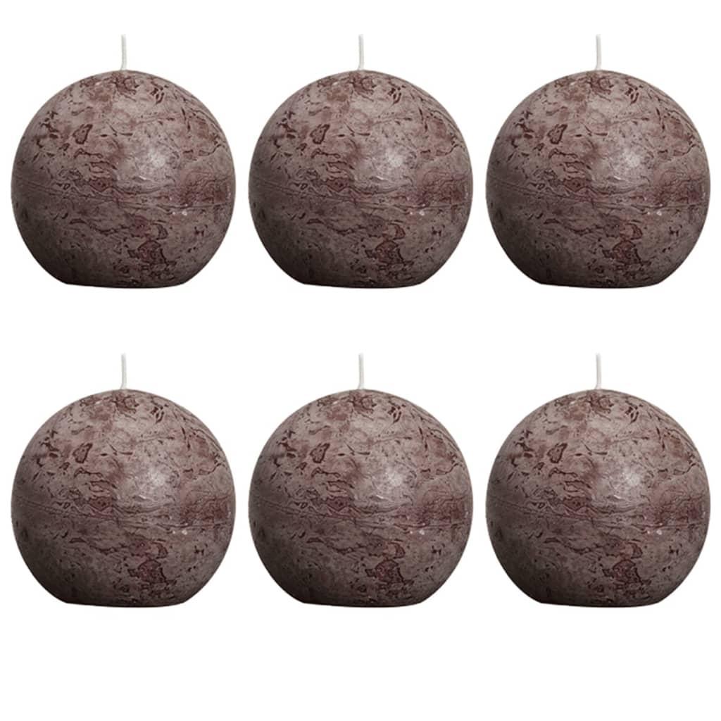 Set 6 lumânări rotunde Bolsius, 80 mm, Maro închis poza 2021 Bolsius