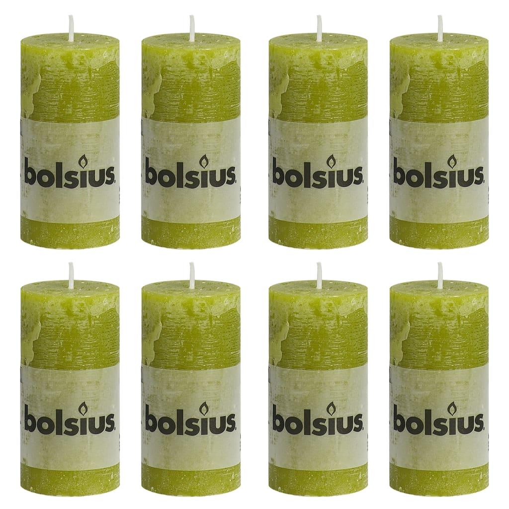 Bolsius Lumânări bloc rustice, 8 buc., verde crud, 100 x 50 mm poza 2021 Bolsius