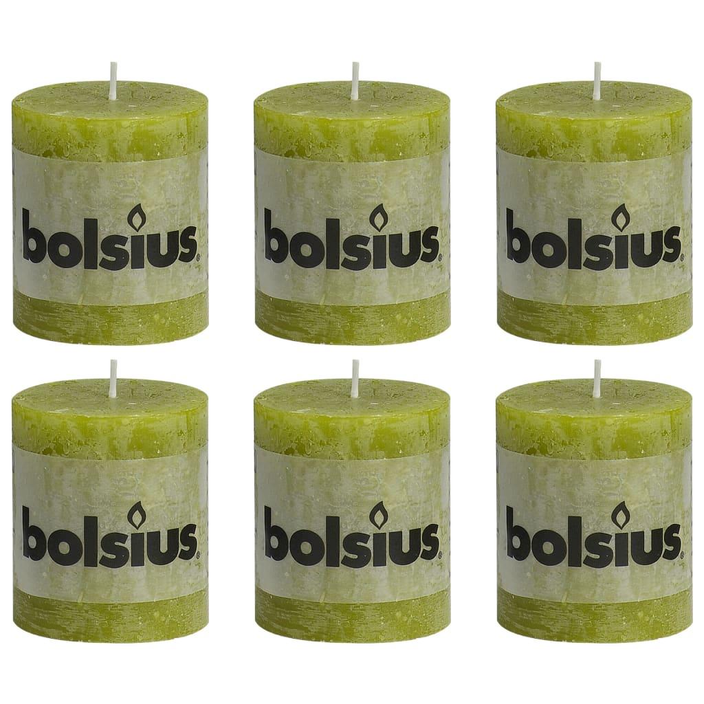 Bolsius Lumânări bloc rustice, 6 buc., verde mușchi, 80 x 68 mm imagine vidaxl.ro