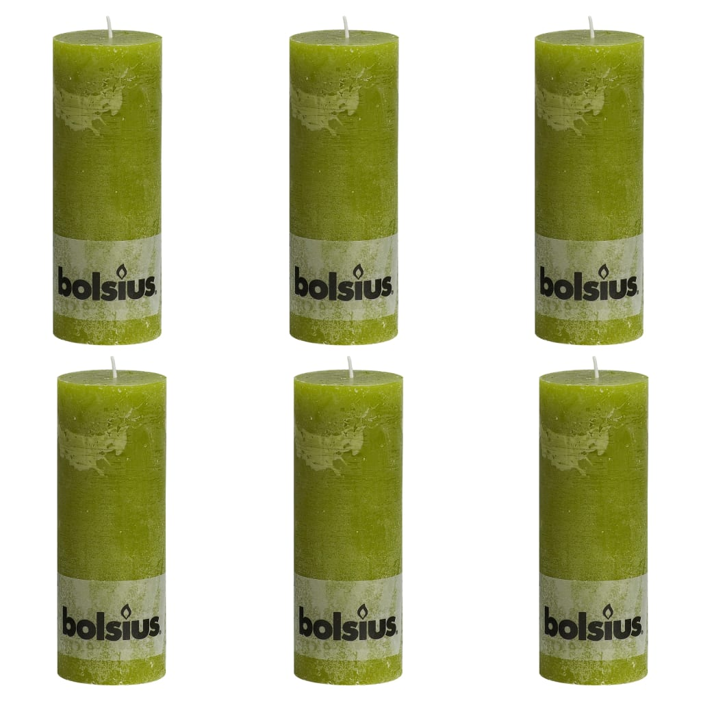 Bolsius Lumânări bloc rustice, 6 buc., verde mușchi, 190 x 68 mm imagine vidaxl.ro