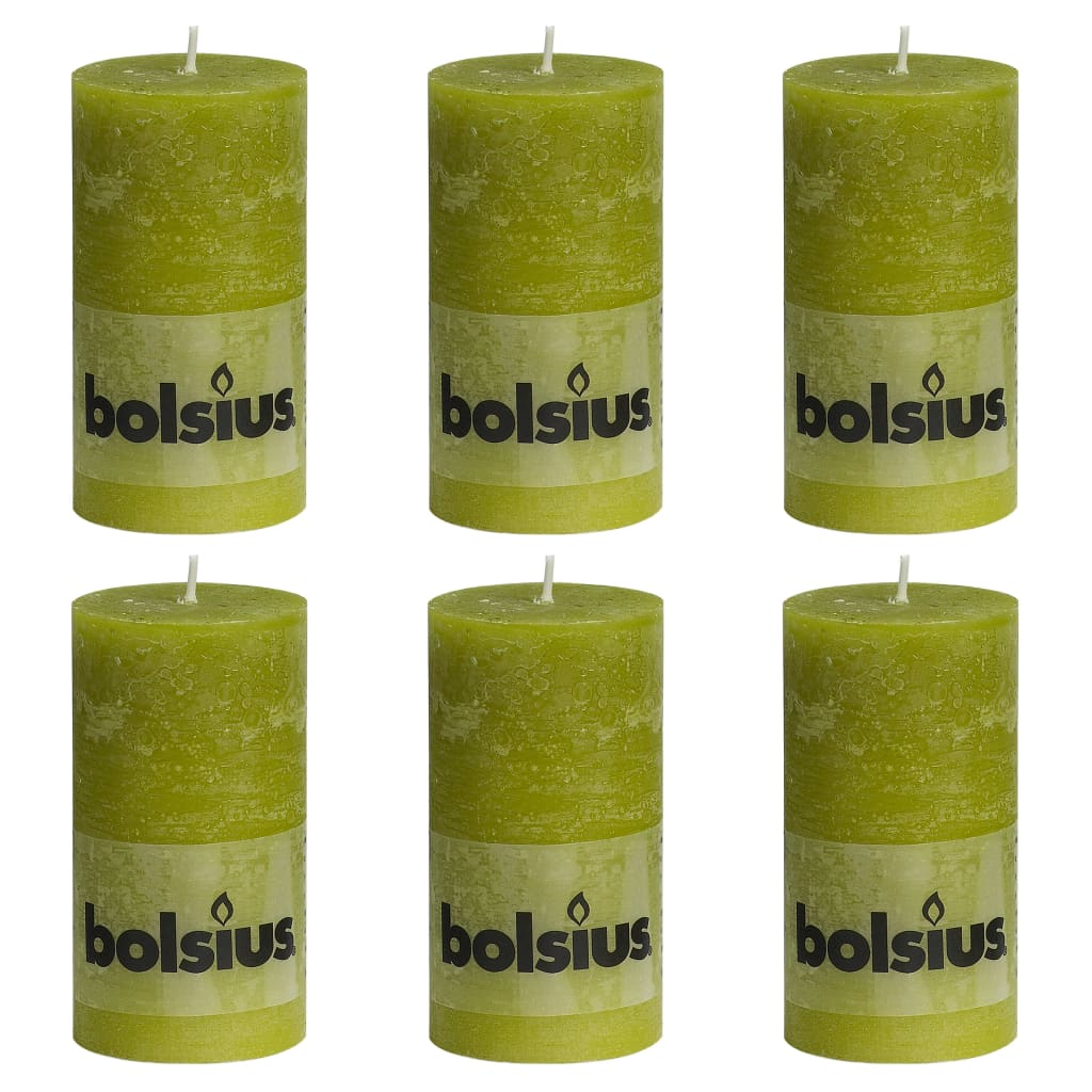 Bolsius Lumânări bloc rustice, 6 buc., verde mușchi, 130 x 68 mm imagine vidaxl.ro