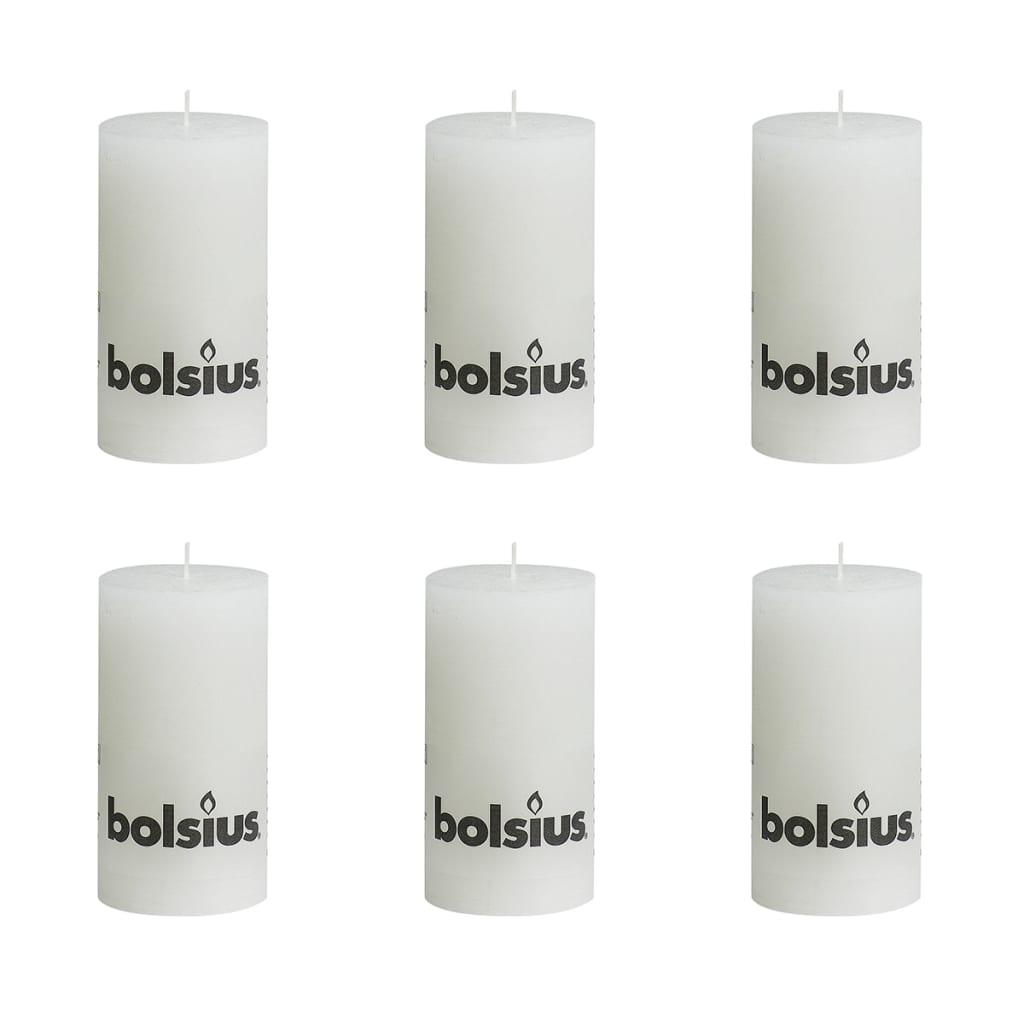 Bolsius rustikální válcové svíčky 130 x 68 mm, bílé, 6 ks