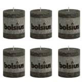 Bolsius Rustic Pillar Candle 80 x 68 mm Smoky Grey 6 pcs