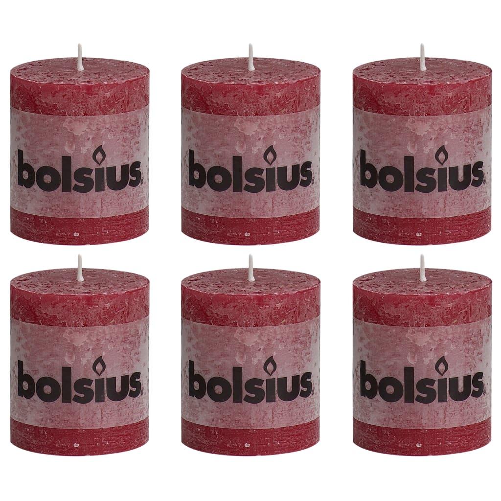 Bolsius Lumânări bloc rustice, 6 buc., roșu vin, 80 x 68 mm poza 2021 Bolsius