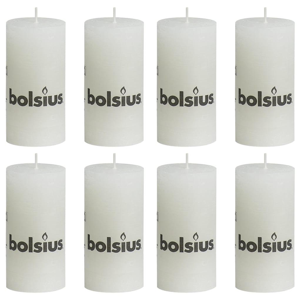Bolsius Lumânări bloc rustice, 8 buc., alb, 100 x 50 mm poza 2021 Bolsius