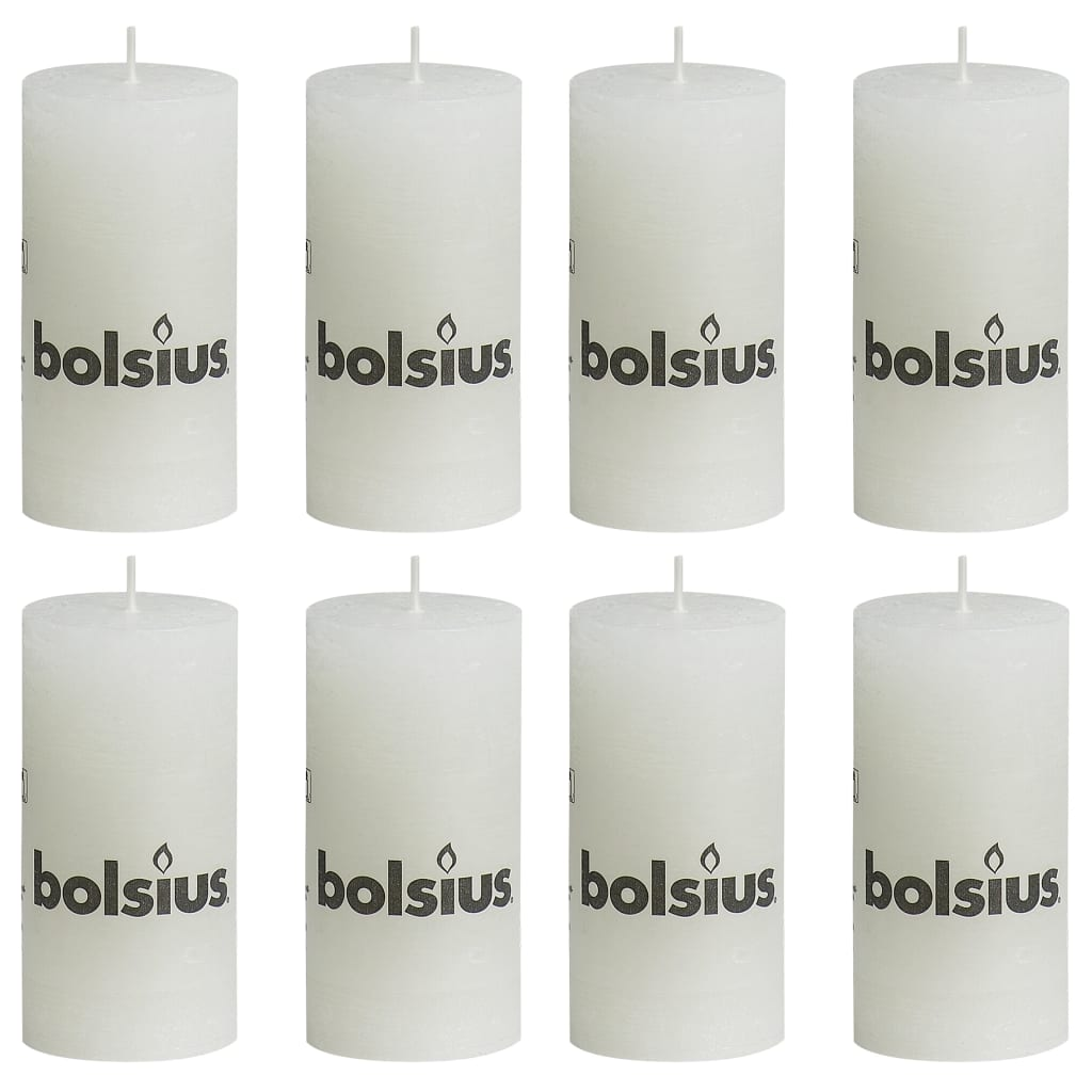 Bolsius Lumânări bloc rustice, 8 buc., alb, 100 x 50 mm imagine vidaxl.ro