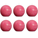 Bolsius Rustic Ball Candles 6 pcs 80 mm Fuchsia