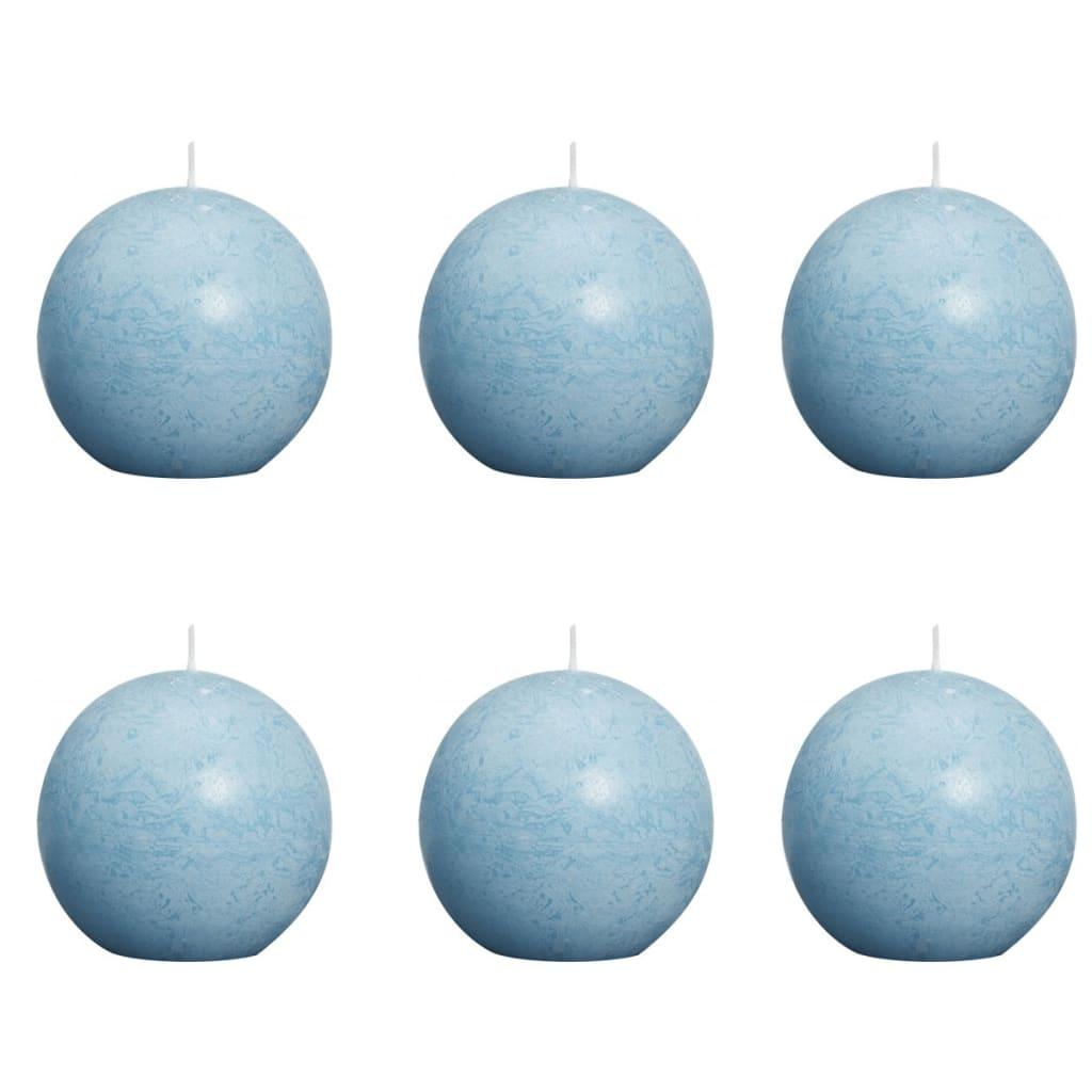 Bolsius Lumânări bilă rustice 6 buc, 80 mm, albastru verzui deschis imagine vidaxl.ro